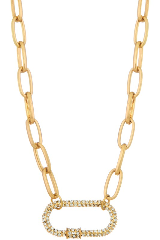 Chain necklace with rhinestone detail