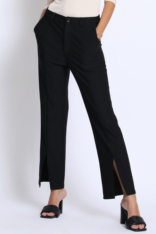 Black front slit knit pants