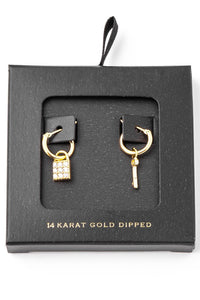 14k Lock & Key Hoop Earrings
