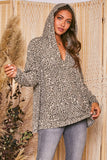 Taupe and Charcoal Animal Print Hoodie