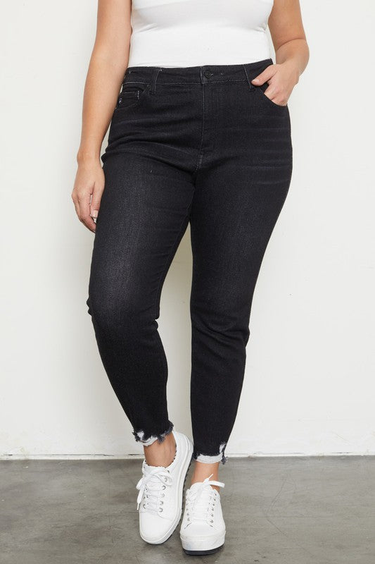 Black denim with hem detail