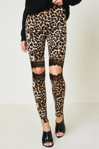 Leopard Lace Cutout Leggings