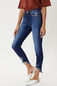 High Rise Denim Jeans with High-Low Frayed Detail Hem