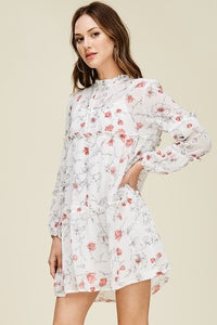 frill tiered floral semi sheer dress