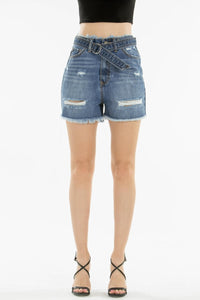"12"" RISE DENIM SHORTS W/BELT"