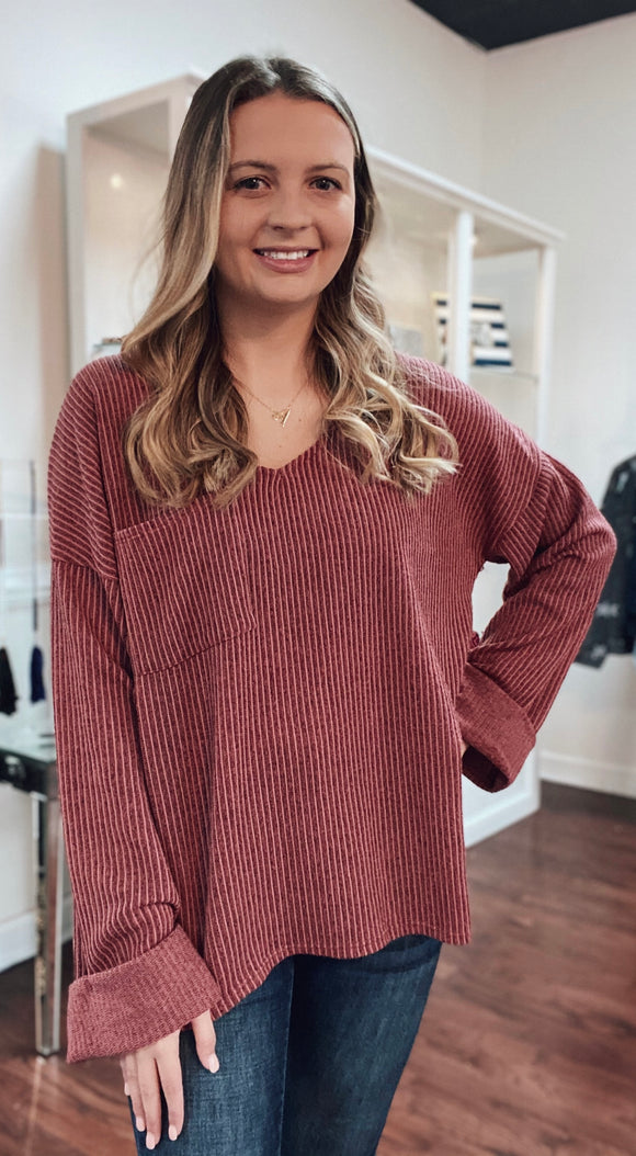 Sweater rib knit v-neck top