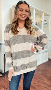 Curvy Stripe V Neck Sweater