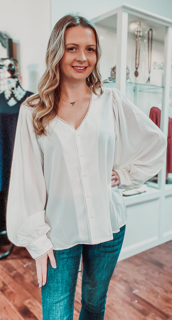 LACE TRIM V- NECK BUTTON DOWN BLOUSE