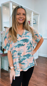 OVERSIZE ARMY PRINT TOP