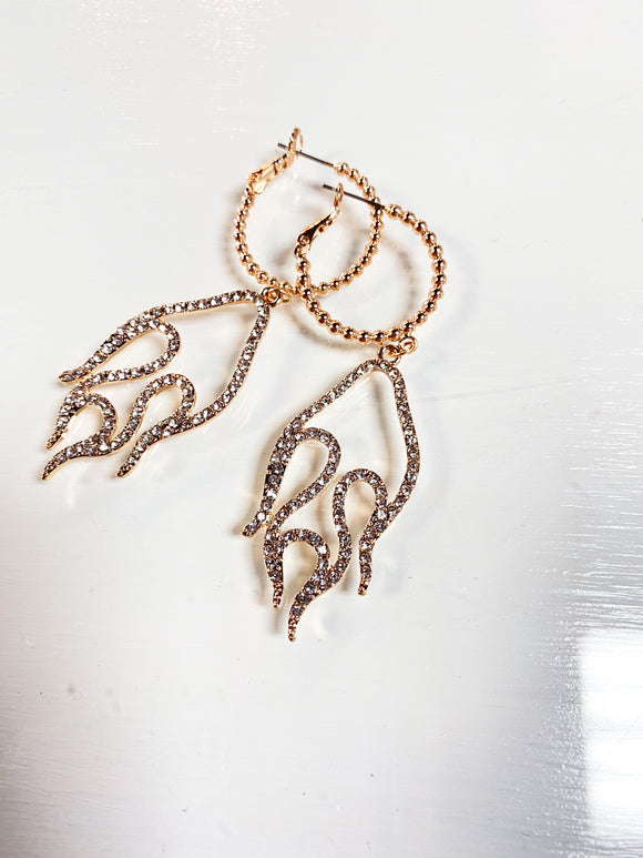 Gold flame drop earrings