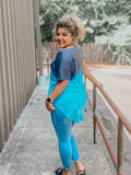 Blue Ombre V-Neck Tunic Top