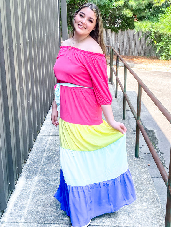 Off The Shoulder Color Block Maxi
