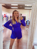 Cobalt satin long sleeve wrap short jumpsuit with scallop trim