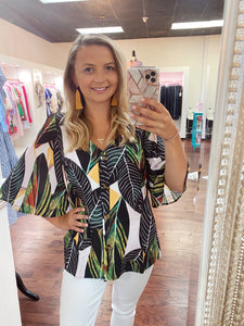Green Tropical V Neck Top With Bell Sleeves