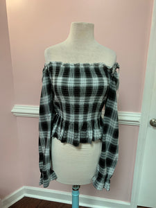 Black Plaid off the Shoulder Top