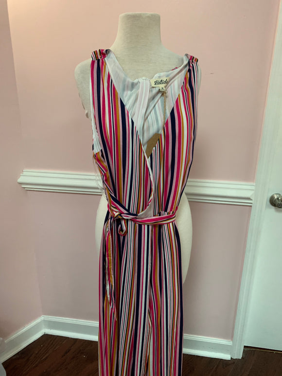 Multi Stripe Wrap Jumpsuit