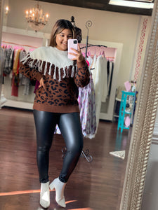 Leopard fringe detail sweater