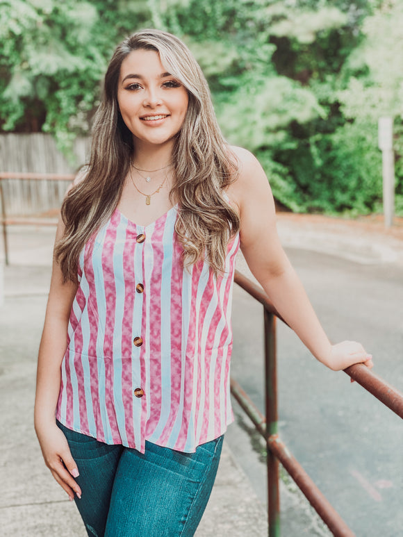 Pink striped v neck button up tank top