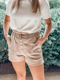 Highwaist khaki 5 button shorts