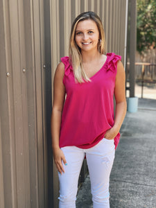 Fuschia V Neck Top with Ruffled Shoulder