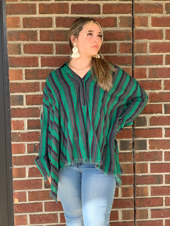 STRIPED LONG SLEEVE V-NECK
