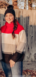 Color block turtle neck long sleeve sweater