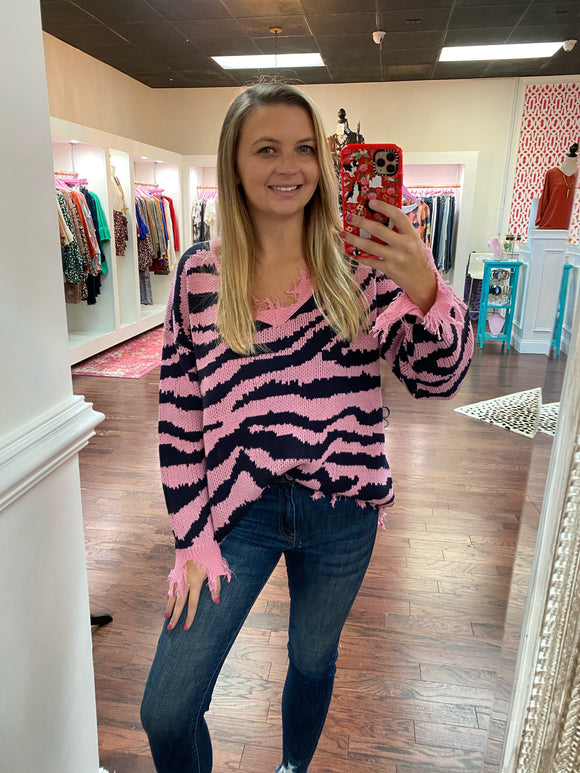 Pink Zebra Distressed Sweater