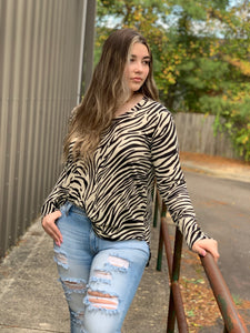 Round Neck Zebra Knit Top