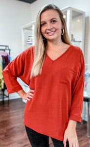Dolman Top With Chest Pocket