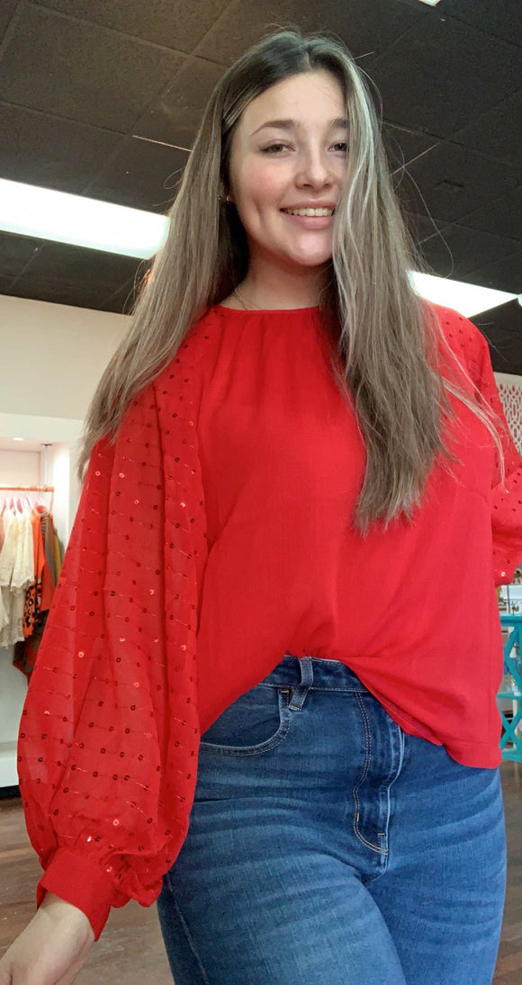 Sequin Balloon Sleeve Red Top