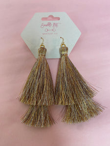14k Gold Double Tassel Earrings