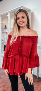 Burgundy Off The Shoulder Ruffle Detail Top