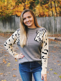 Snow leopard round neck knitted sweater