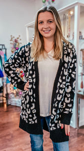 Soft leopard print open front cardigan