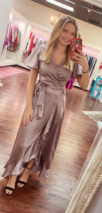 Cream Satin Long Wrap Dress