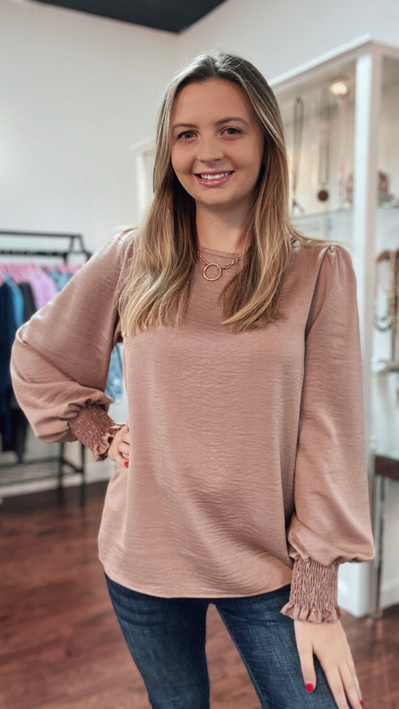 Mocha satin round neck balloon sleeve top