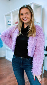 Lilac Cropped Open Jacket