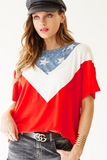 Jersey Knit V Shape Color Block Top With Stars