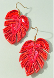 Tropical Leaf Beaded Earrings