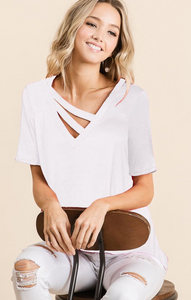 V neck double strap knit top