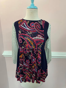 BABYDOLL TOP W/ MIXED PRINTS&FABRICS