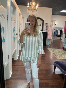 Peplum striped top