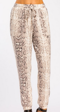 Snake print brushed joggers