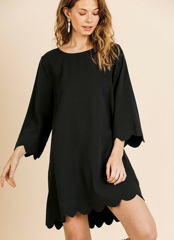 Black scallop trim long sleeve round neck dress