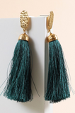 Dangling earrings with hammered metal stud and tassels
