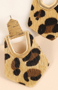 Pentagon shaped animal print and calf hair
