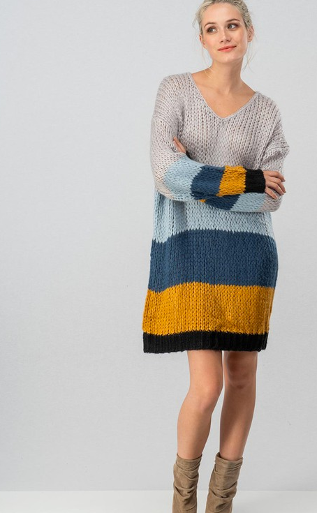 Chuncky knit color block sweater dress