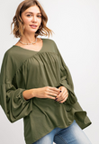 V neck yoke bubble sleeve woven top