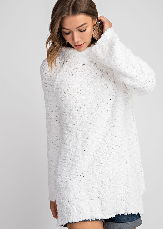 Snow touched tunic sweater