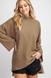 Oversized turtle neck rib knit top